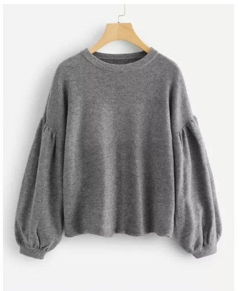 Drop Shoulder Lantern Sleeve Heathered Sweater