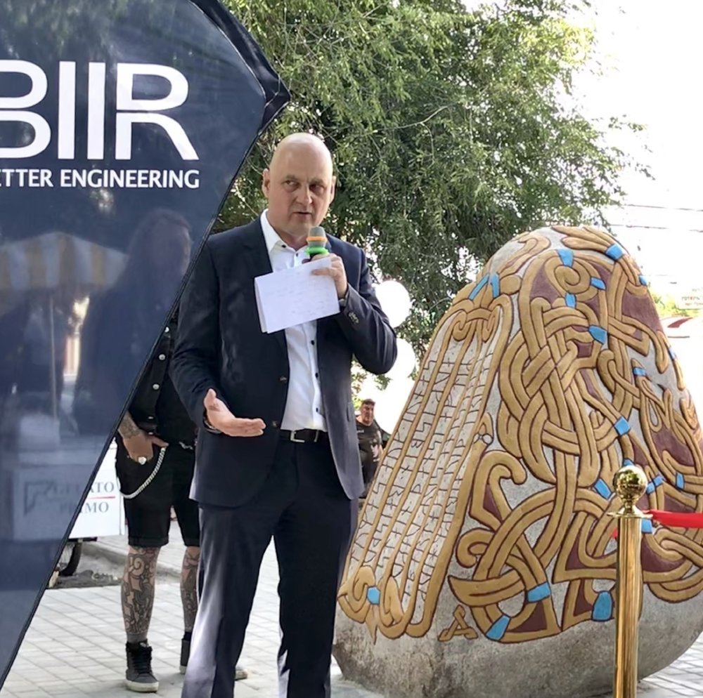 Denmark's Thomas sillesen unveils a 6-ton rune stone marking his battle against the corruption dragon (James Brooke)