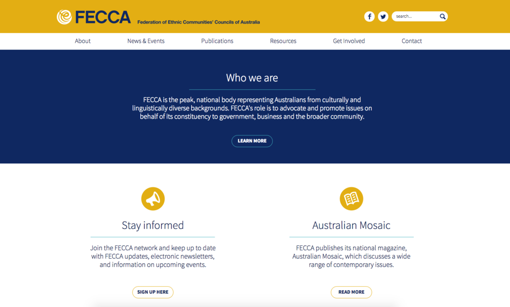 Federation of Ethnic Communities' Councils of Australia - http://fecca.org.au/