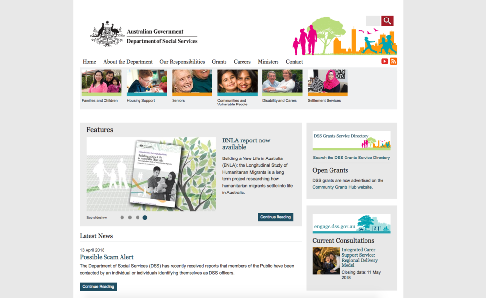 Department of Social Services - https://www.dss.gov.au/