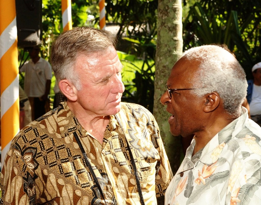 """Addressing the threat of global warming and getting all of humanity to live with one another and the natural world in harmony is very possible. In this book, Wilford shows us the way.""—Desmond Tutu - Wilford Welch with Nobel Peace Prize Laureate Desmond Tutu at the Quest for Global Healing conference in Bali that Wilford led in 2007."
