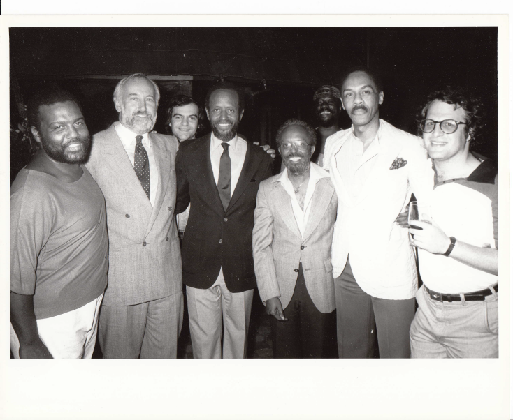 """Arthur Blythe, Bruce Lundvall, Tony Purrone (Heath Brothers band), Percy Heath, Jimmy Heath, James """"Blood"""" Ulmer, Dr. George Butler, and me in 1979."""