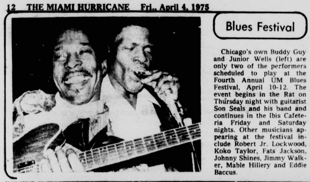 Miami Blues Festival preview from  The Miami Hurricane , April 4, 1975
