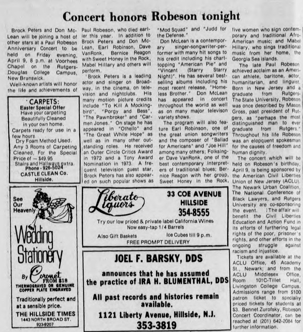 Preview of Mable Hillery's final public performance at a Paul Robeson tribute, from  The Hillside Times , April 8, 1976