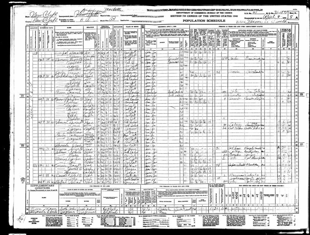 1940 Census, New York, NY: Robert Carroll and his wife Lottie are listed on lines 38 & 39