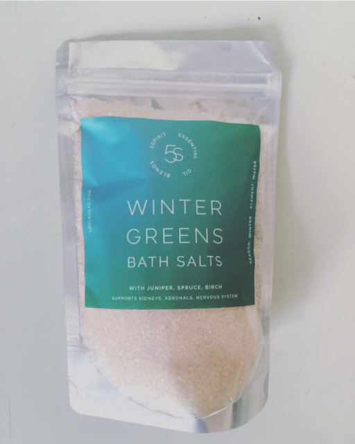 """For the Stressed Out and Freaked Out - Winter Greens Bath Salts. These are intense times. What better gift than a """"time out""""? Epsom and pink himalayan salt. Juniper, Atlas Cedarwood, Black Spruce and Birch. The perfect winter soak. Soothes sore muscles, and calms the spirit. Supports the Kidneys, adrenals, and nervous system. Strengthens the constitution. $20"""