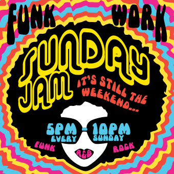 FUNK WORK!   Sunday Jam   Funky Edmontonians! Come down and funk out with us every Sunday this fall! This funkalicious event starts at 5PM, and goes til 10PM (or later)! Our house band is providing a full backline of guitar amps, bass amp, keyboard, drum kit including breakables, congas and a percussion rig! With all this gear, the epic funky jams will be unstoppable! Just bring your axe, horn, or voice and yourself, and let's make some music to move and groove to.  All Day, All Night Happy Hour Specials!  Click on the above image to view our Sunday Jam Facebook Group!