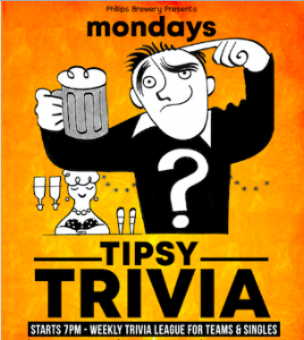 TIPSY TRIVIA!   Monday Nights   PHILLIP'S BREWING & TIPSY TRIVIA PRESENTS: TRIVIA MONDAYS @ RIVER CITY REVIVAL HOUSE! Prizes awarded every Monday night for 1st, 2nd and 3rd place the teams or single(s). This first season runs for 12 weeks (November 26th), with a giant grand prize awarded to the highest scoring team (or single) through out the season! General Trivia, something for everyone, if your a history buff, a movie buff or just filled with plenty of interesting facts, we got you! $8 BBqKing Burgers $5.25 Pints of Blue Buck $11 (2oz) Boocha Cocktails  Click on the above image to view our Tipsy Trivia Facebook Group!