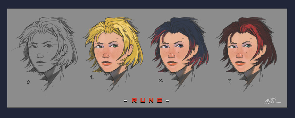 Rune    Some work i did while part of an indie dev project. I mainly worked on hashing out some base ideas for the other team members to work off of. This was going to be the main protagonist.