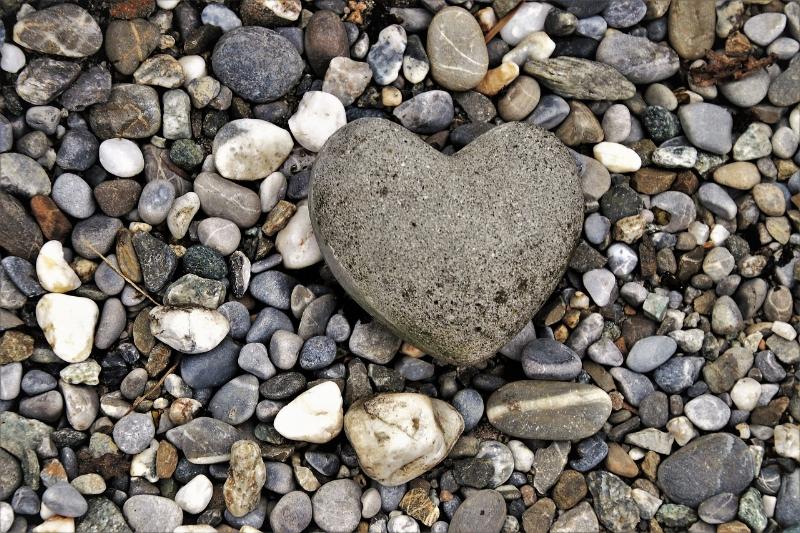 Heart shaped rock against a field of smaller rocks