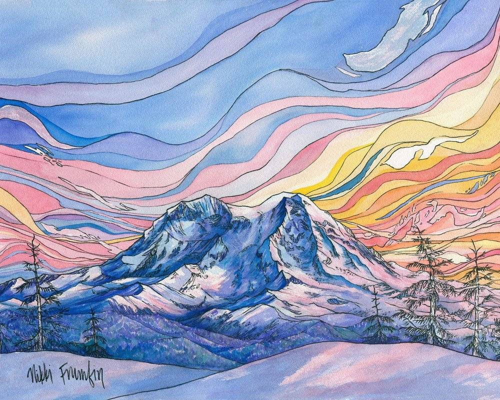 Watercolor painting of a snow covered mountain at sunset.