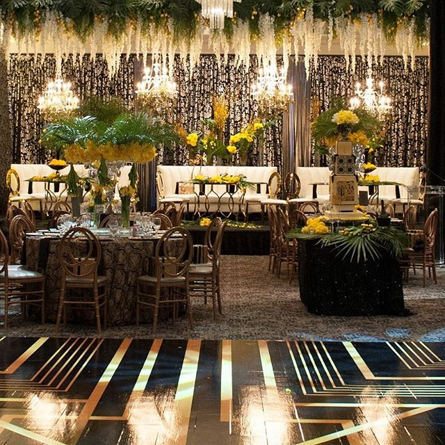 Great Gatsby Wedding!  #wedding #backdrop #chandelier #elegent #headtable #draping #roomdraping #centerpieces #weedingday