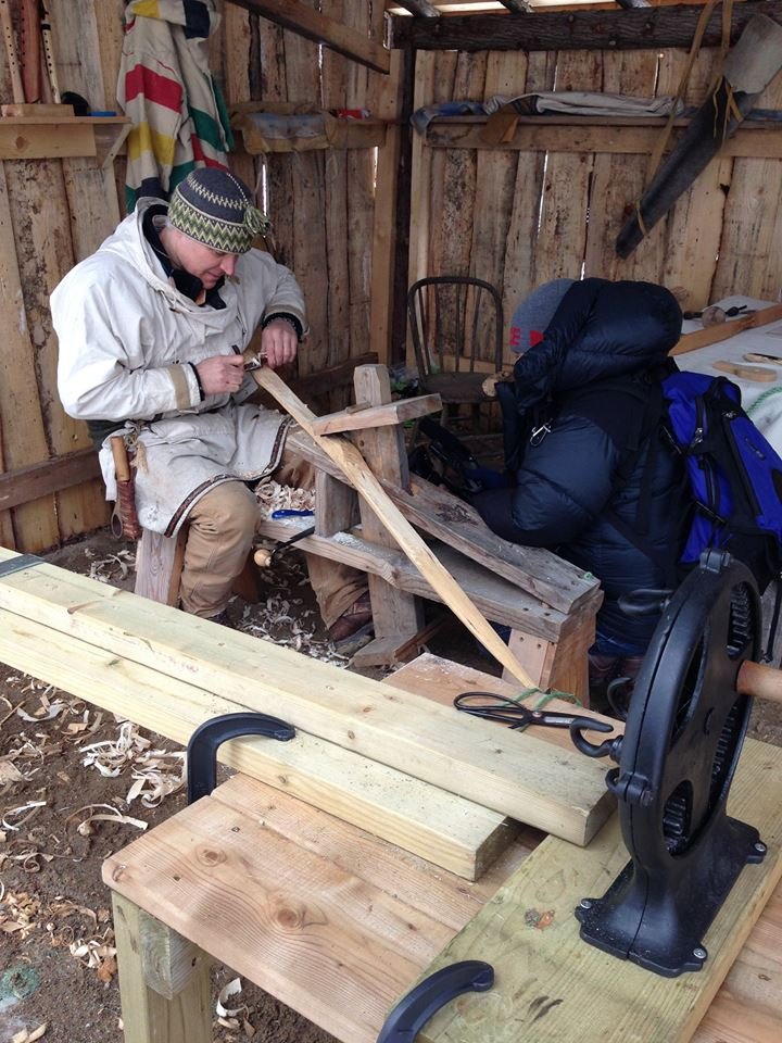 Traditional woodworking on shaving horse.
