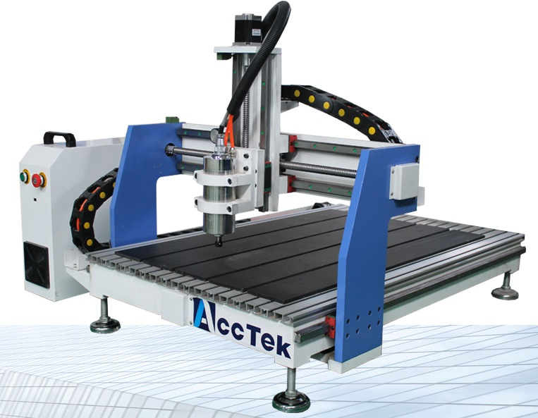 ACCTEK CNC Machine AKG6090 - Maximum working area: 600 x 900 x 150mmUsable material: Aluminum, Wood, and PlasticSoftware: Mach316mm collet
