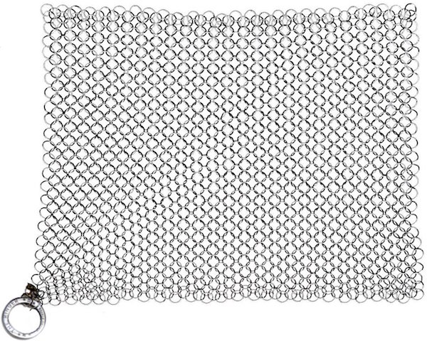 Chain mail for cleaning cast iron pots and pans - it replaces scouring pads and steel scrubbers, and will last forever.
