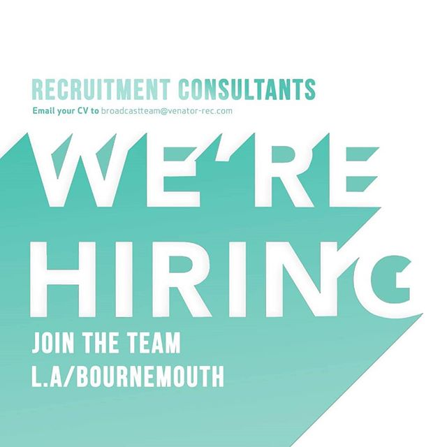 Fancy working with a fantastic team in a thriving, forward-thinking recruitment company!? We're looking to add to our Bournemouth & Los Angeles offices. Perks of the job include an unrivaled commission structure, fantastic offices, unlimited holiday, company shares and a brilliant chance to thrive.  Whether you've got recruitment experience or you're looking to begin your career in the industry, it's the individual that counts at Venator! Fire your CV over to broadcastteam@venator-rec.com now and we'll take it from there.  Alternatively, click the link in our bio to visit our careers page for a look into life at Venator!