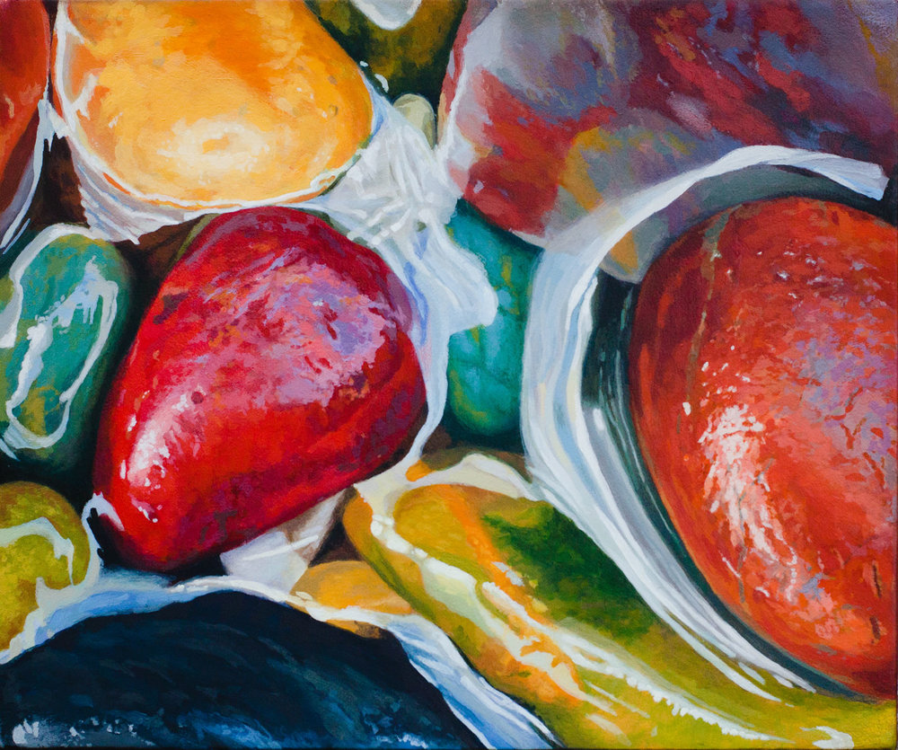 Pebble pop 25cm x 30cm SOLD fine art painting