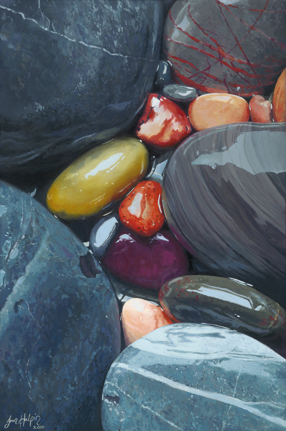 Clarity 40cm x 60cm SOLD pebble painting