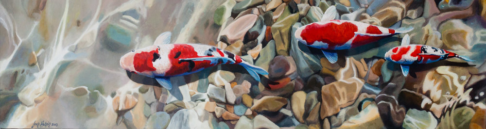 Clan 40cm x 150cm SOLD Koi carp painting