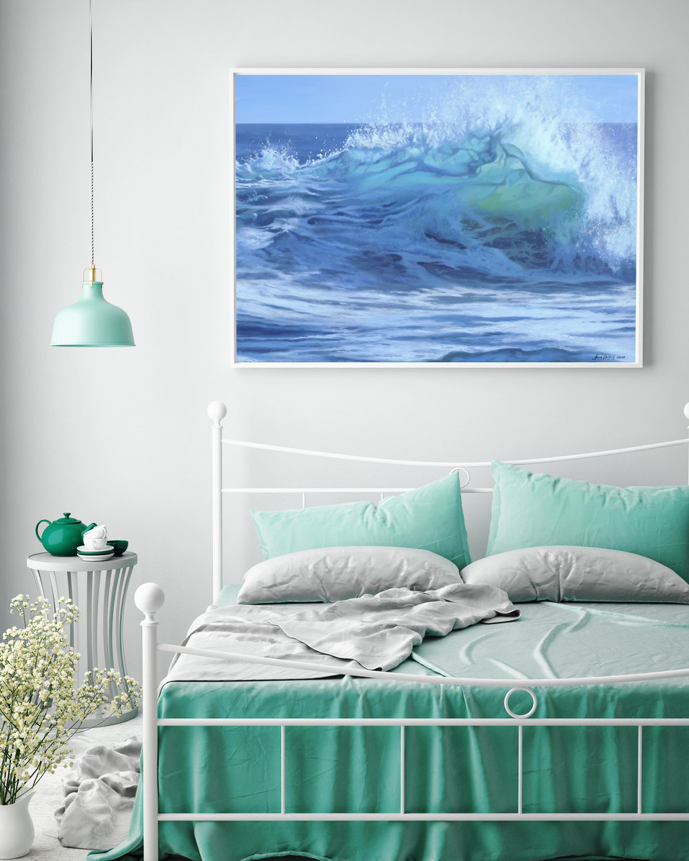 Pause SOLD 70cm x 50cm ocean wave