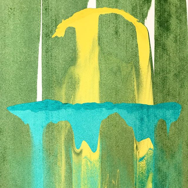 "This is one in a series of freeform screenprinting pieces. 12"" x 12"". #green #turquoise #gold #yellow"