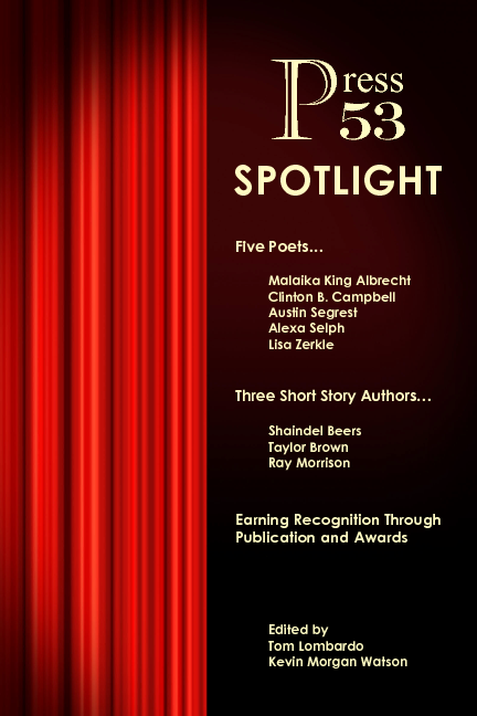 "press 53 spotlight - Press 53 Spotlight features three of Shaindel's short stories, ""Longing on Hwy 10,"" ""What to Expect When You're Introspecting,"" and ""ISO."" This is the most short fiction of Shaindel's available in one place–until she finishes her short fiction manuscript. Sadly, this title is going out of print, but there may still be some copies out there."
