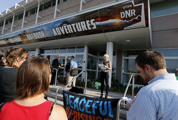 Kaitlin Butler speaks as coalition of groups against the development of tar sands meets with the press in Salt Lake City, Tuesday, June 30, 2015. (Ravell Call, Deseret News)
