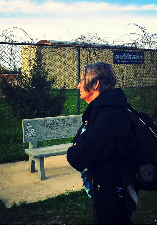 Carolyn Raffensperger at the former site of Michigan Chemical/ Velsicol, St. Louis, Michigan