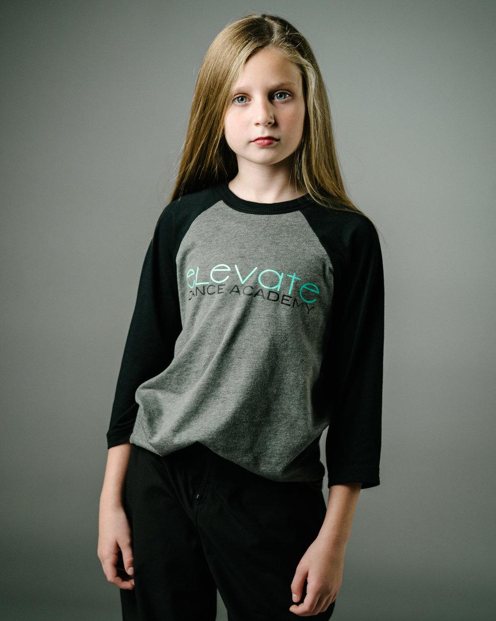 Grey/Black Baseball T-Shirt (Elevate logo)