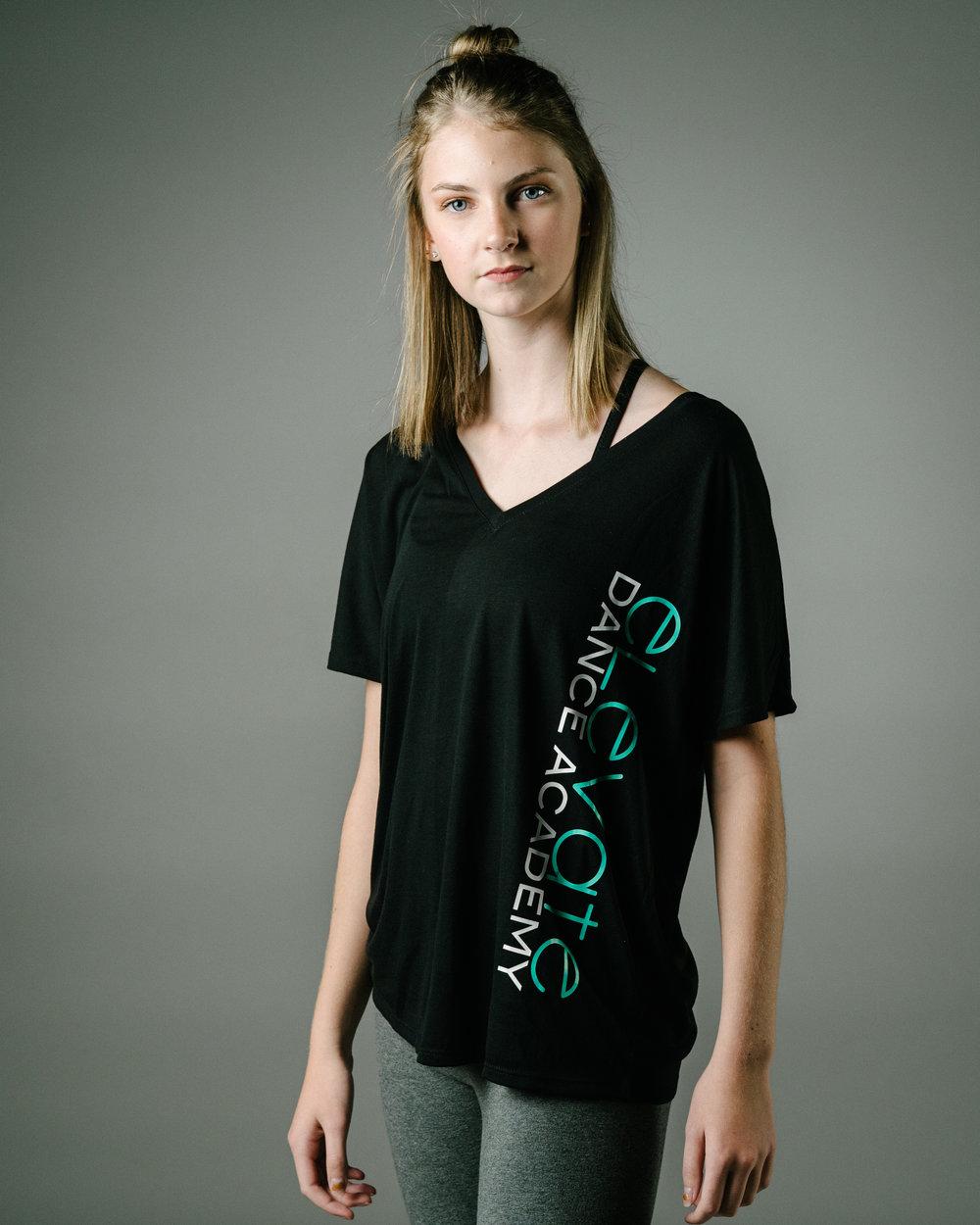 Slouchy Black V-Neck T-Shirt (Elevate logo down the left side)
