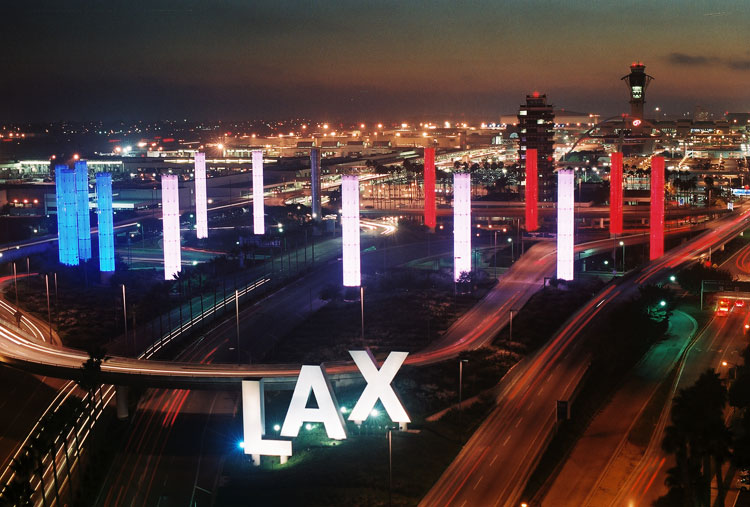 LAX Gateway Entrance   - In 2006, LAX installed a major new LED lighting system to improve visual impact and reduce energy and maintenance costs.