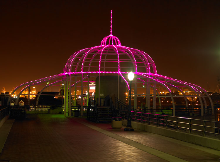 Long Beach, CA  - During the 2008 holiday season, dynamic new lighting was unveiled, transforming the city's landscape and highlighting its distinct personality.