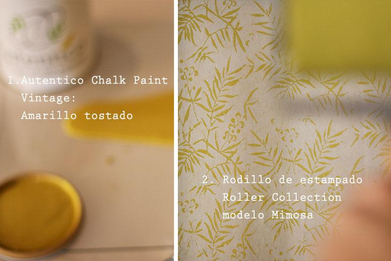 Papel pintado con rodillo de estampado modelo mimosa y Autentico Chalk Paint Vintage color Amarillo Tostado.