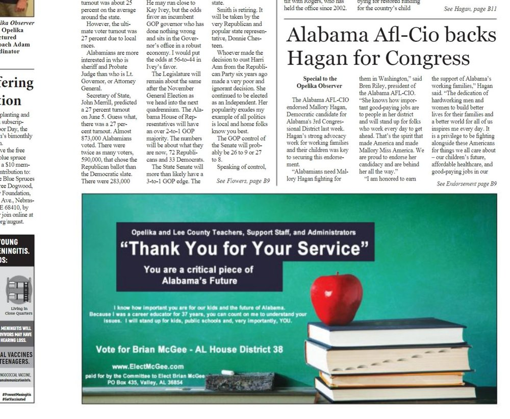 Newspaper ad welcoming teachers back to school posted in Opelika and Valley/Lanett
