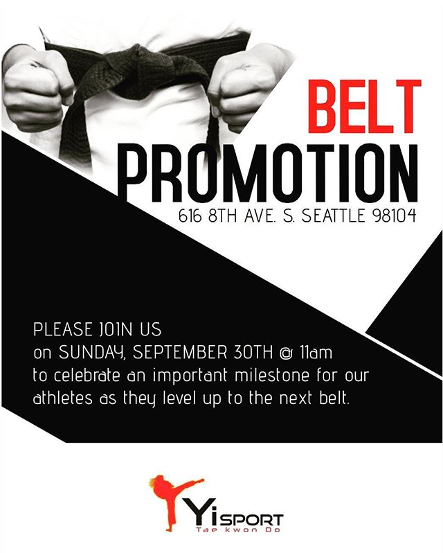 PLEASE JOIN US on SUNDAY, SEPTEMBER 30TH @ 11am to celebrate an important milestone for our athletes as they level up to the next belt.
