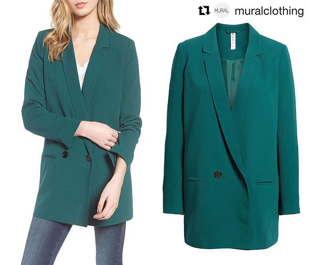 #Repost @muralclothing ・・・ Oversize Blazer  Bright color updates the look of this oversized blazer that makes a contemporary addition to denim or slouchy pants. Available Now in Emerald @Nordstrom Full Line and Online Stores! . . . . . #muralclothing #nordstrom #savvy #ootd #womenswear #blazer #blazers #contemporary #fashion #oversizedblazer #emerald