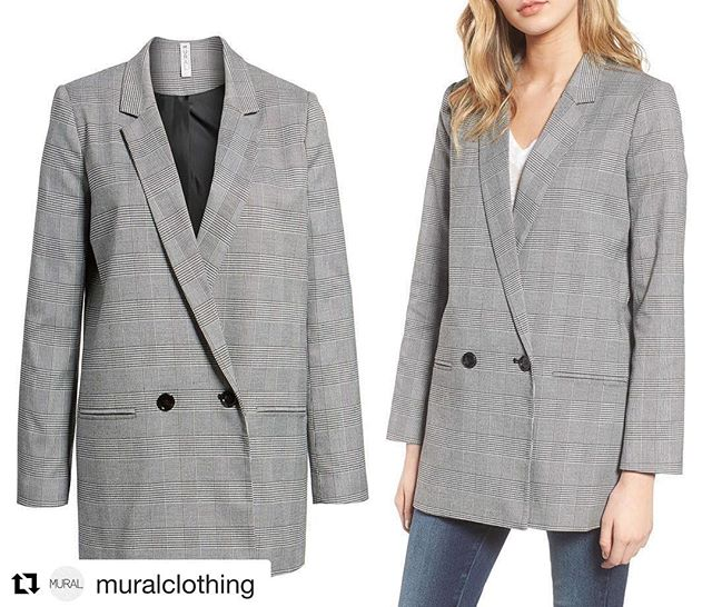#Repost @muralclothing ・・・ Oversize Plaid Blazer A duo of black buttons completes the polished aesthetic of this houndstooth-plaid blazer that makes an unexpected addition to denim or slouchy pants. Available Now at @Nordstrom Full Line and Online Stores! . . . . . #muralclothing #nordstrom #savvy #ootd #houndstooth #plaid #womenswear #blazer #blazers #contemporary #fashion