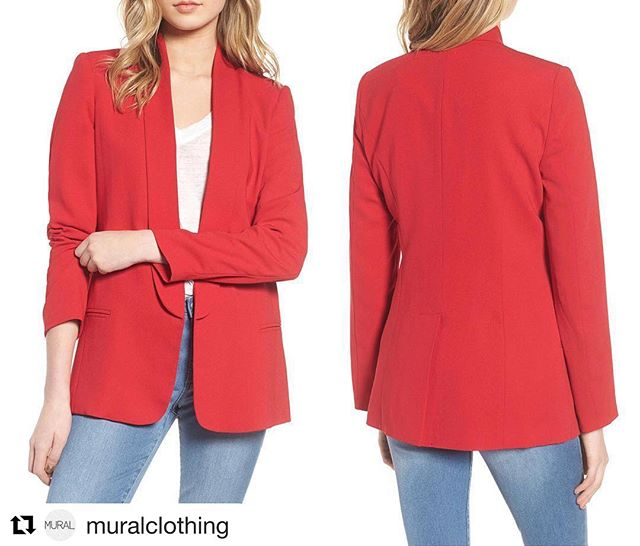 #Repost Check out our very own @muralclothing! New Blazers now in stock at #Nordstrom! ・・・ New! 'Slouchy Boyfriend Blazer' in Red Lipstick Available Now, Only at @Nordstrom Online!  Sleek elongated lapels accentuate the fluid silhouette of a menswear-inspired blazer that expertly layers over dressed-up and laid-back looks. . . . . . #muralclothing #savvy #fashion #ootd #blazer #womenswear #style #newlook