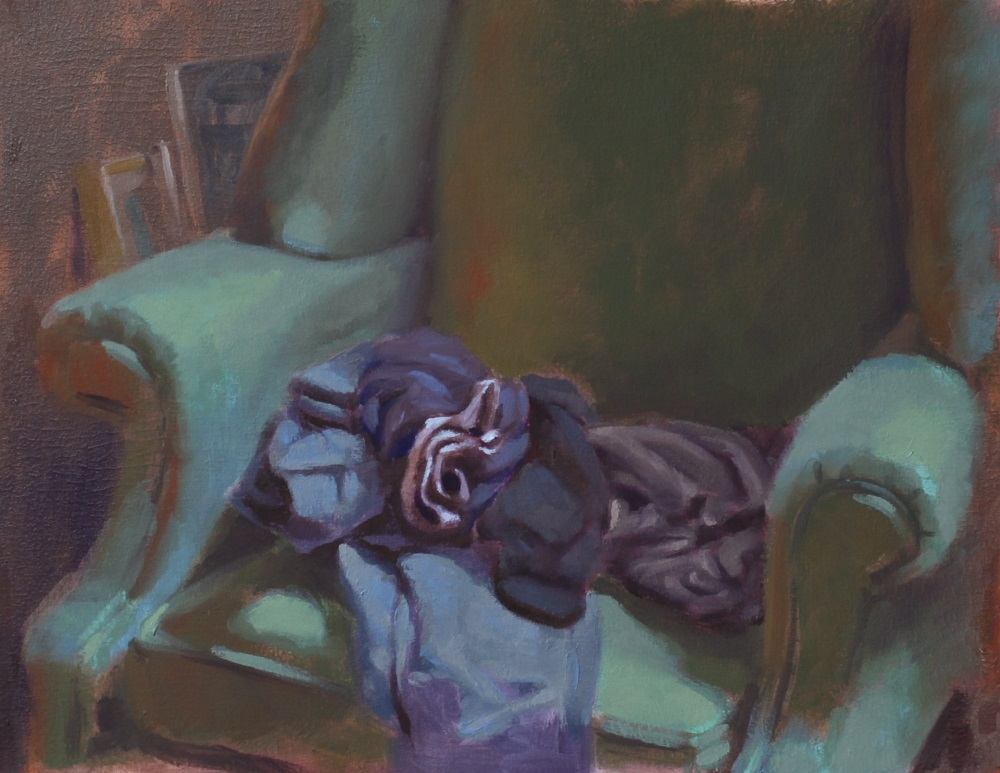 """""""Clothes on green chair""""  10""""x13"""", Oil on panel"""