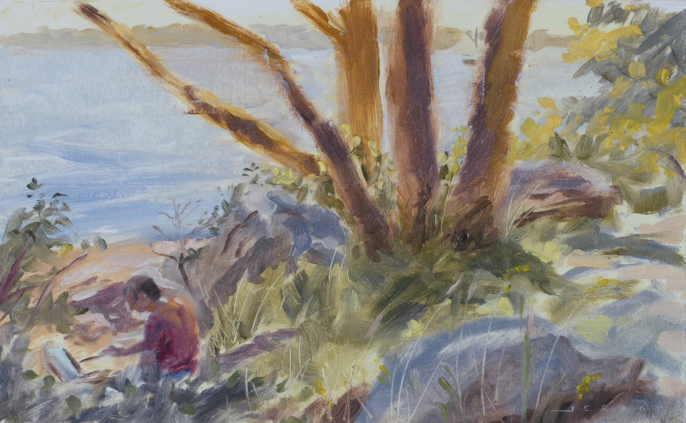 """David West painting at Stage Fort Park"" (Goucester, MA)  7""x11"", Oil on paper"