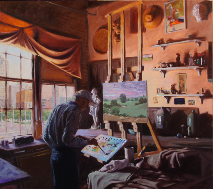 """Richard Kelso in his studio""  40""x44"", oil on linen"