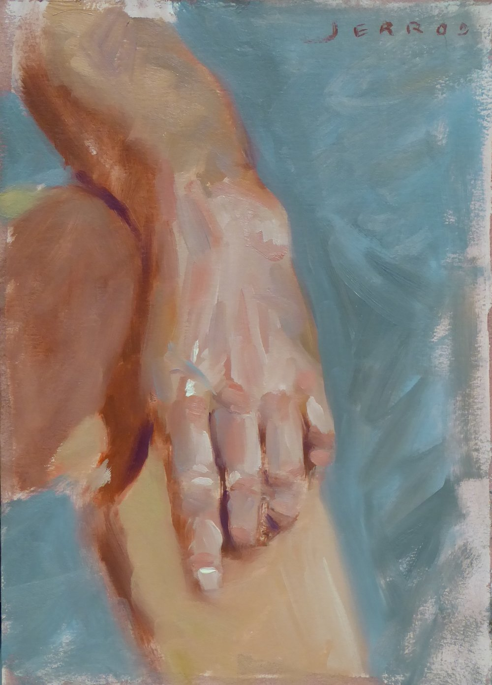 "Hand study, class demo  9""x12"", Oil on panel"