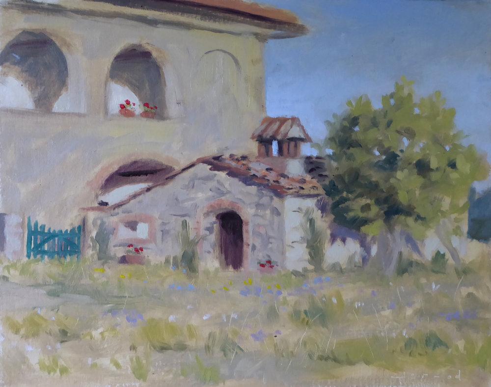 """""""Spannocchia farmhouses""""  Oil on paper  8""""x10"""""""