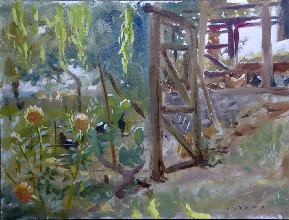 """'""""Chicken yard with dahlias""""  Oil on paper  12""""x16"""""""