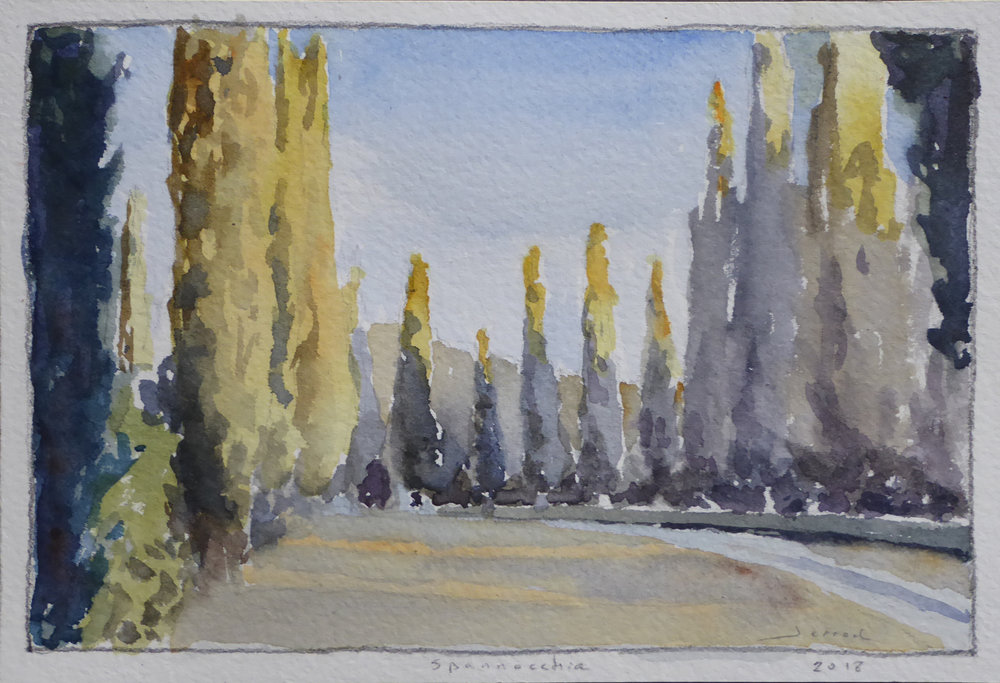 """""""Early evening light on cypress""""  Watercolor  5""""x7"""""""