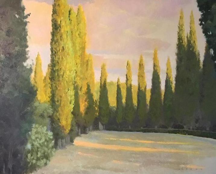 """Last light on cypress"", 24""x30""  oil on canvas"