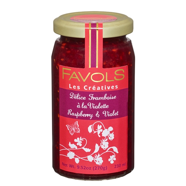 Favols Raspberry Jam with Violet $9 - Raspberry and Violet Jam by Favols is a delicate combination; try it in a parfait or as part of a layer cake!