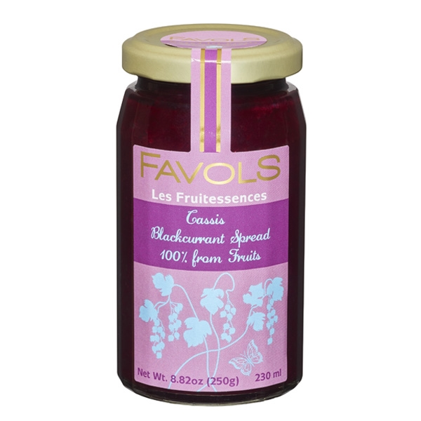 Favols Blackcurrant Fruit Spread $8.50 - Prepared with fruit selected for its freshness, this spread is sweetened with apple juice, with no added sugar, and vacuum-cooked to preserve the fruit's flavor and color.