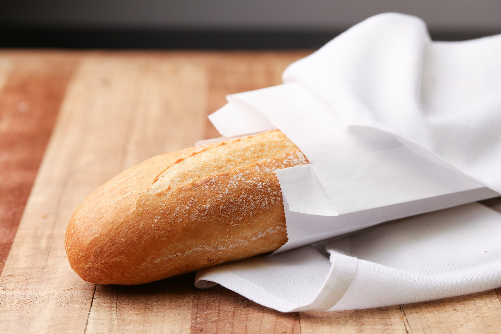 French Baguette - A long, thin loaf with a crisp crust.Contains: Wheat