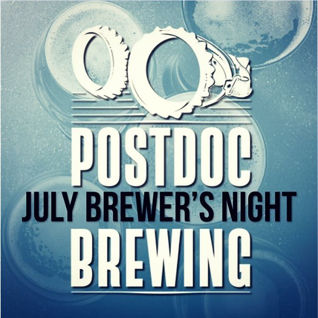Tonight's the night! It's our July Brewer's Night with @postdocbrewing. The evening kicks off at 6:00 pm. Join us for great local beer and swag giveaways!